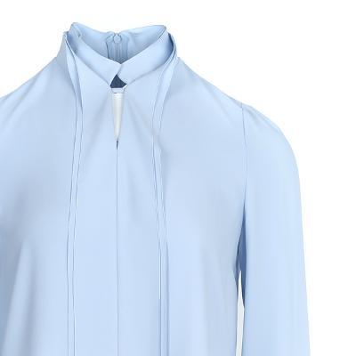 double collar blouse skyblue